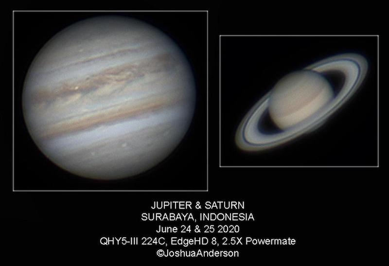 Jupiter dan Saturnus yang dipotret oleh Joshua Anderson dari Surabaya: Kredit: Joshua A. Anderson