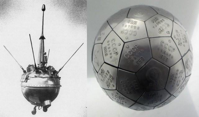 Kiri: Luna 2, wahana antariksa pertama yang tiba di Bulan. Kanan: Aksesoris yang dibawa Luna 2. Kredit: NASA, Patrick Pelletier