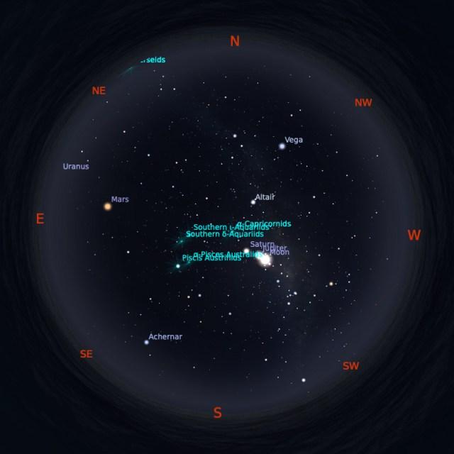 Peta Bintang 1 Agustus 2020 pukul 23:59 WIB. Kredit: Stellarium