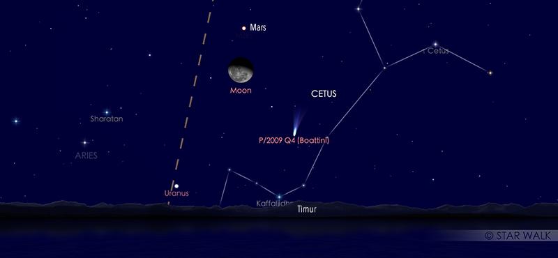 Pasangan Bulan - Mars 9 Agustus 2020 pukul  23:30 WIB. Kredit: Star Walk