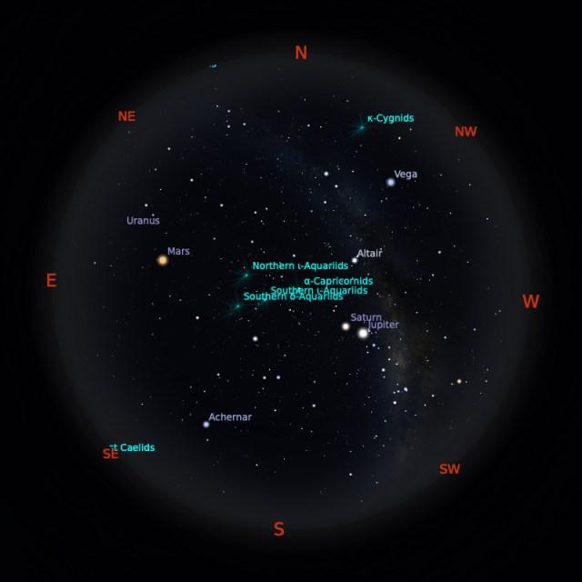 Peta Bintang 15 Agustus 2020 pukul 23:59 WIB. Kredit: Stellarium