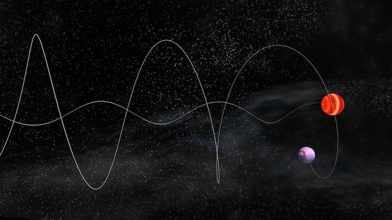 Ilustrasi goyangan bintang. Kredit: NRAO/AUI/NSF, B. Saxton