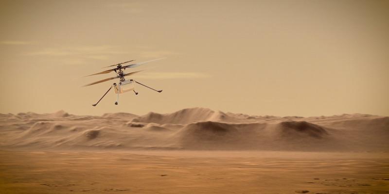 Ilustrasi helikopter Ingenuity yang sedang terbang di Mars. Kredit: NASA