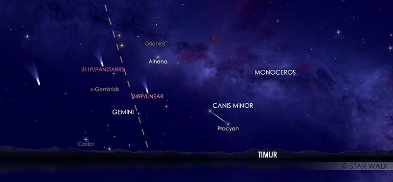 Hujan meteor Orionid tanggal 21 Oktober 2020 pukul 00:00 WIB. kredit: Star Walk