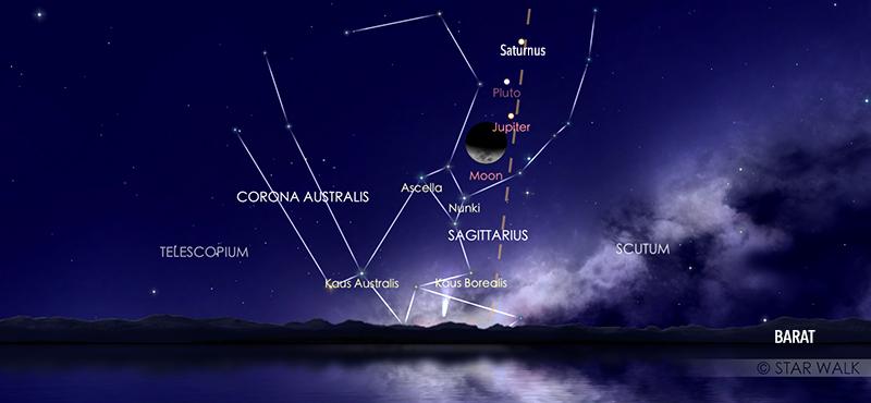 Pasangan Bulan dan planet Jupiter pada tanggal 22 Oktober 2020 pukul 22:00 WIB. Kredit: Star Walk