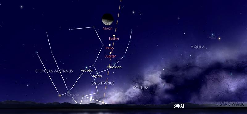 Pasangan Bulan dan planet Saturnus pada tanggal 23 Oktober 2020 pukul 22:00 WIB. Kredit: Star Walk