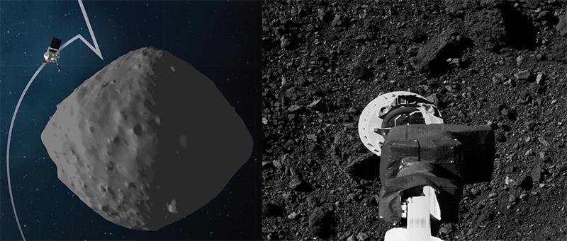 Kiri: Lintasan OSIRIS-REx saat latihan. Kanan: Foto saat latihan kedua untuk mendekati lokasi pengambilan sampel dari ketinggian 40 meter. Kredit: NASA/Goddard/University of Arizona