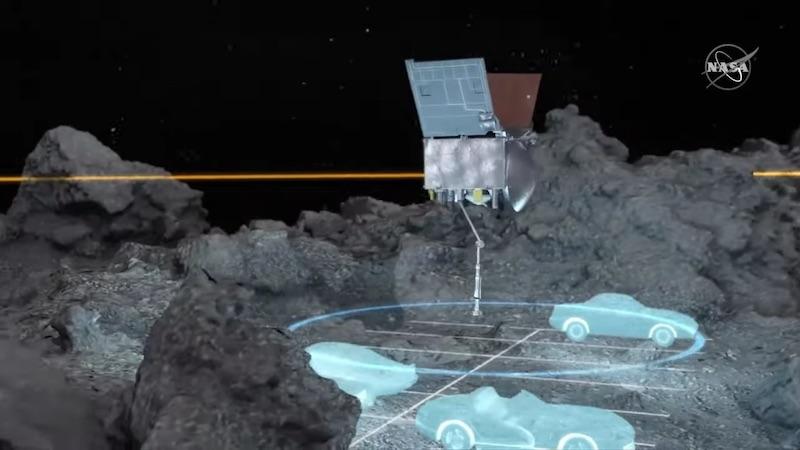 Gambar visualisasi luas area sampling dan bahaya batuan yang mengelilinginya Sumber: NASA