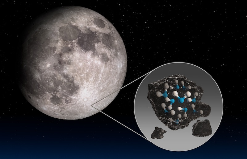 Molekul air yang dilihat SOFIA di Kawah Clavius, Bulan. Kredit: NASA/Daniel Rutter