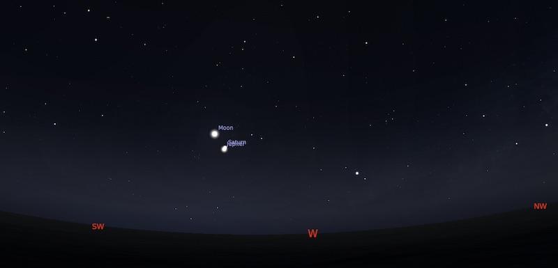 Bulan, Jupiter, dan Saturnus yang membentuk segitiga pada 17 Desember 2020 pukul 19:00WIB. Kredit: Stellarium