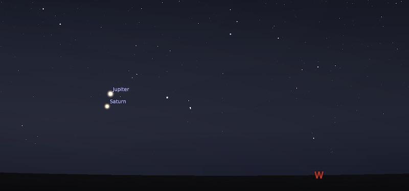 Pasangan Jupiter Saturnus tangga; 1 Januari 2021 pukul 19:00 WIB. Kredit: Stellarium