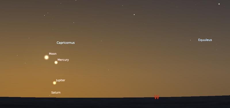 Papasan Bulan dan Merkurius pada tanggal 14 Januari 2021, pukul 18:45 WIB. Kredit: Stellarium