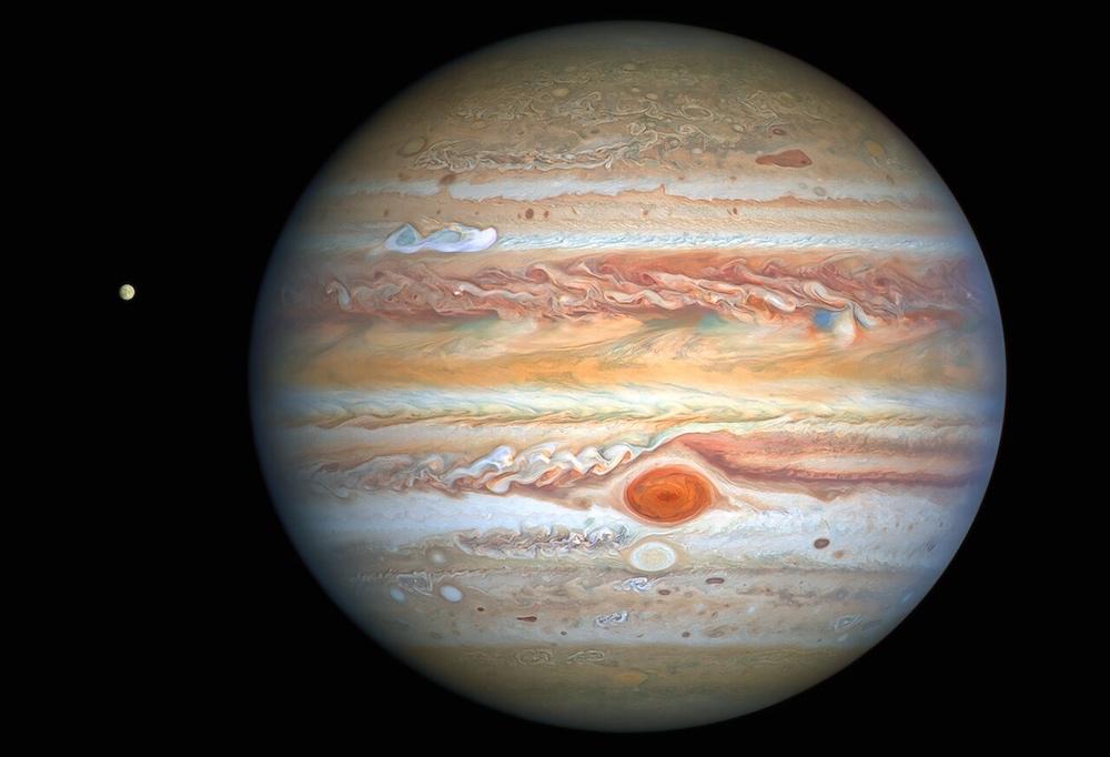 Jupiter. Kredit: NASA, ESA, A. Simon (Goddard Space Flight Center), and M. H. Wong (University of California, Berkeley) dan Tim OPAL.
