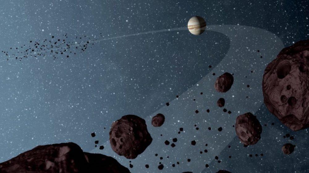 Jupiter dan asteroid trojan. Kredit: NASA/JPL-Caltech