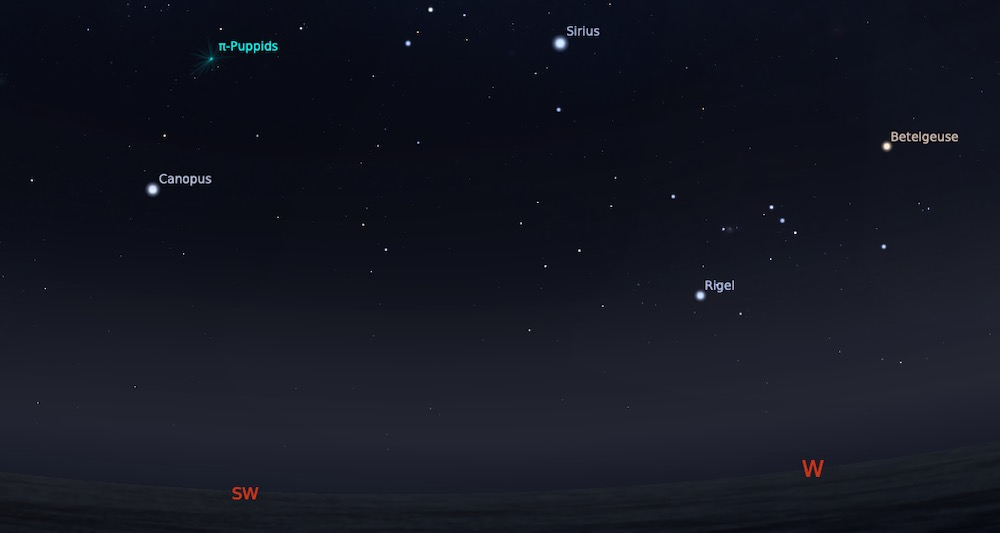 Hujan meteor Pi Puppid tanggal 23 April pukul 20:00 WIB. Kredit: Stellarium