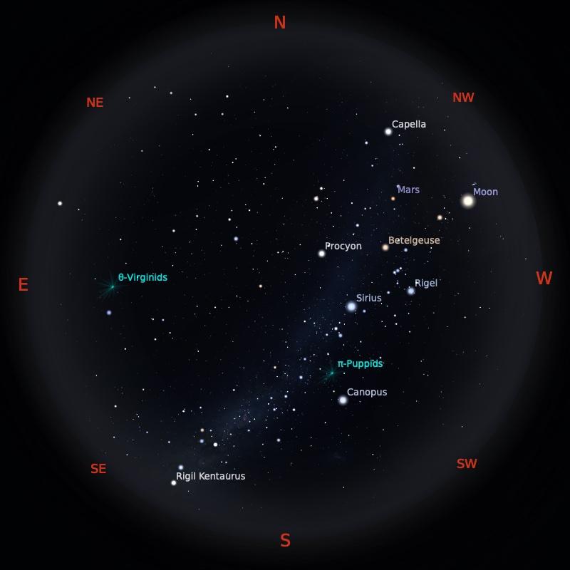 Peta Bintang 15 April 2021 pukul 19:00 WIB. Kredit: Stellarium