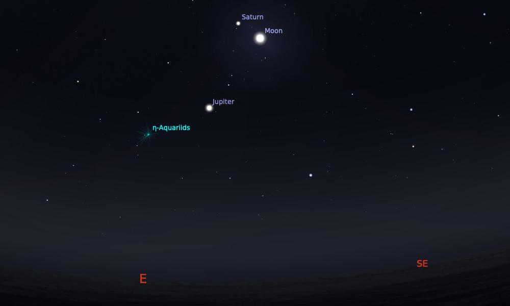 Konjungsi Bulan dan Saturnus tanggal 4 Mei 2021 saat pukul 03:00 WIB. Kredit: Stellarium