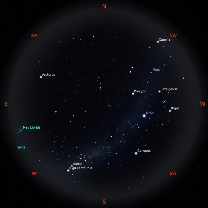 Peta Bintang 1 Mei 2021 pukul 19:00 WIB. Kredit: Stellarium