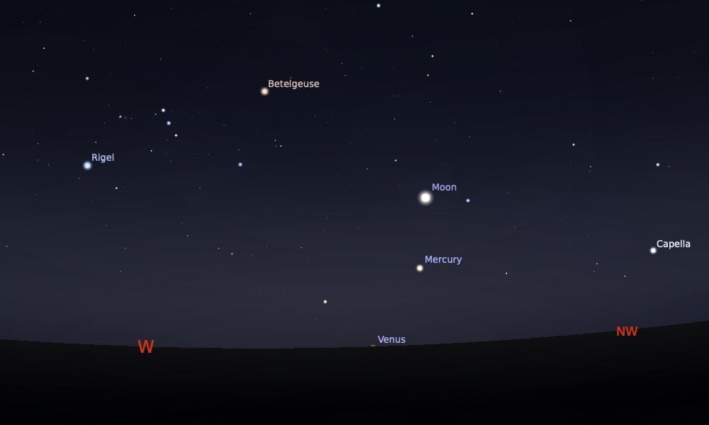 Konjungsi Bulan dan Merkurius tanggal 14 Mei 2021 saat pukul 18:30 WIB. Kredit: Stellarium