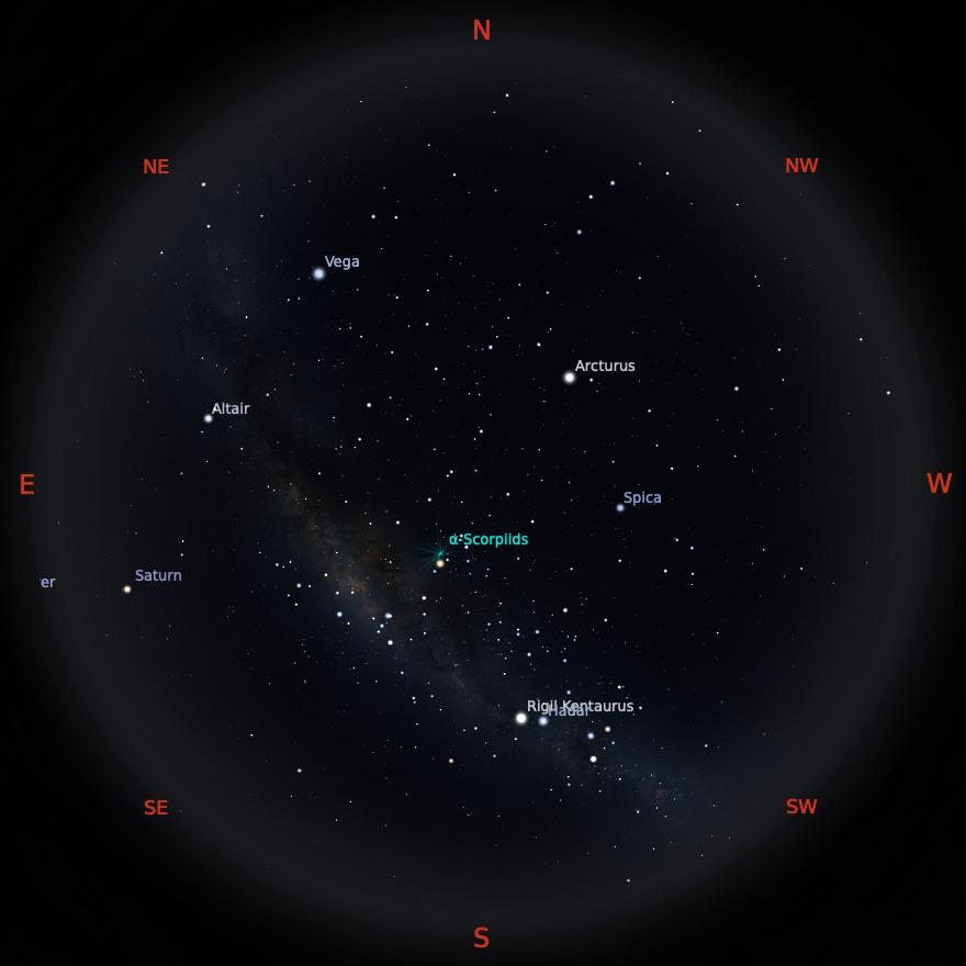Peta Bintang 15 Mei 2021 pukul 00:00 WIB. Kredit: Stellarium