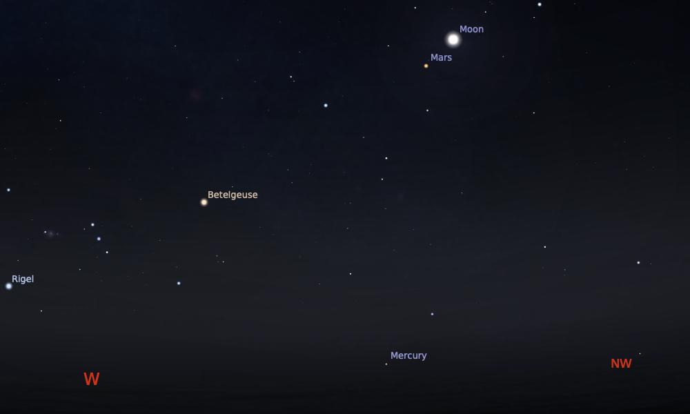 Konjungsi Bulan dan Mars tanggal 16 Mei 2021 saat pukul 19:00 WIB