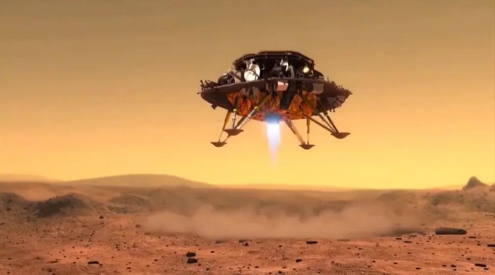 Ilustrasi Patroli pendarat Tianwen-1 saat akan mendarat di Mars. Kredit: CNSA