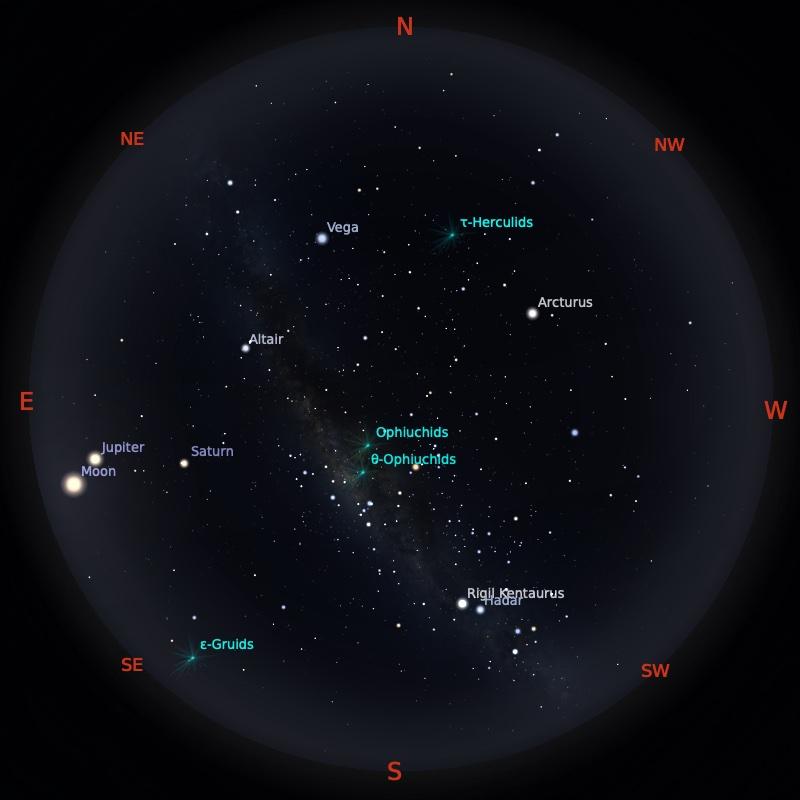 Peta Bintang 1 Juni 2021 pukul 23:59 WIB. Kredit: Stellarium