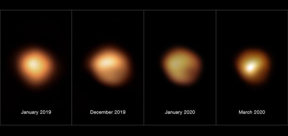 Foto perubahan kenampakan bintang Betelgeuse pada bulan Januari 2019, Desember 2019, Januari 2020, dan Maret 2020. Kredit: ESO/M. Montargès et al.