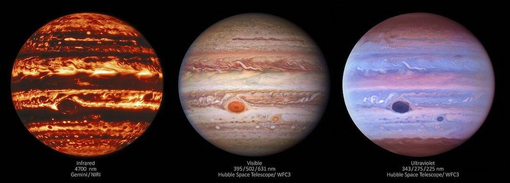 Jupiter pada tiga tipe cahaya: inframerah, visual/tampak, dan ultraungu. Kredit: International Gemini Observatory/NOIRLab/NSF/AURA/NASA/ESA, M.H. Wong and I. de Pater (UC Berkeley) et al.