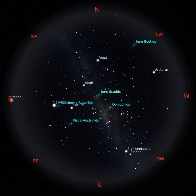 Peta Bintang 1 Juli 2021 pukul 23:59 WIB. Kredit: Stellarium