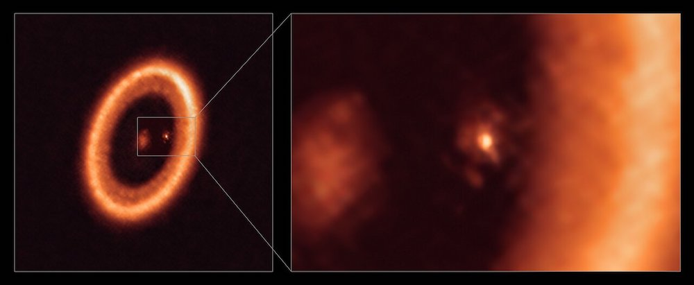 Tampak lebih dekat exoplanet PDS 70c terpisah dari tepi dalam piringan terluar di sistem PDS 70. ALMA (ESO/NAOJ/NRAO)/Benisty et al.