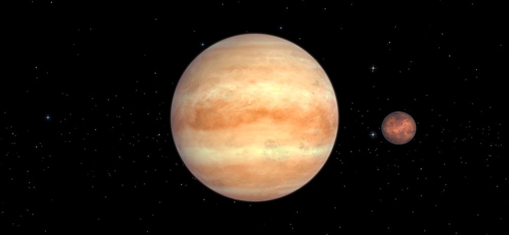 Pasangan Venus dan Mars dalam simulasi. Kredit: Solar Walk
