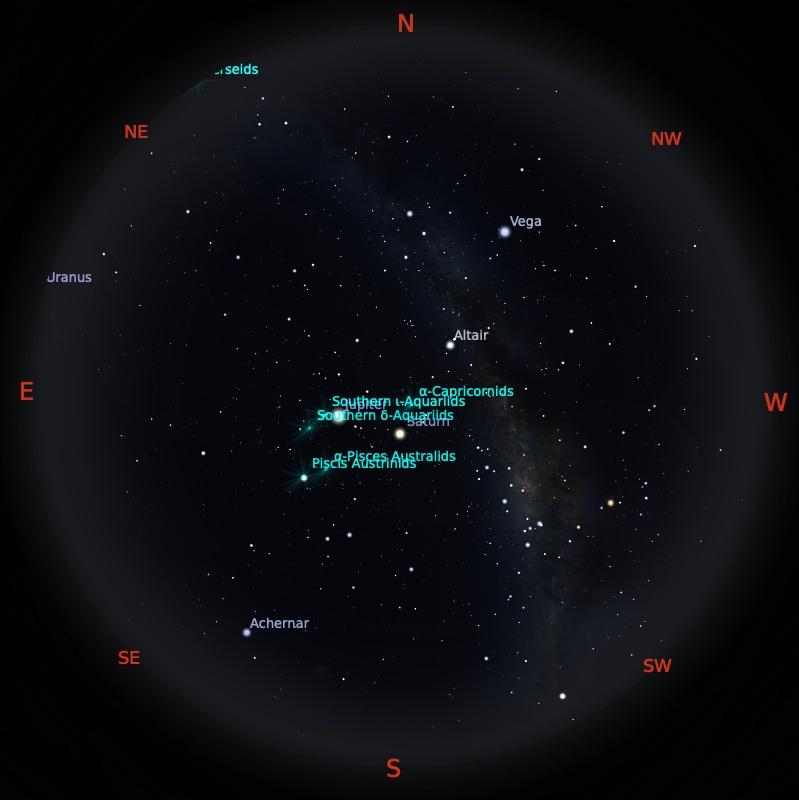 Peta Bintang 1 Agustus 2021 pukul 23:59 WIB. Kredit: Stellarium
