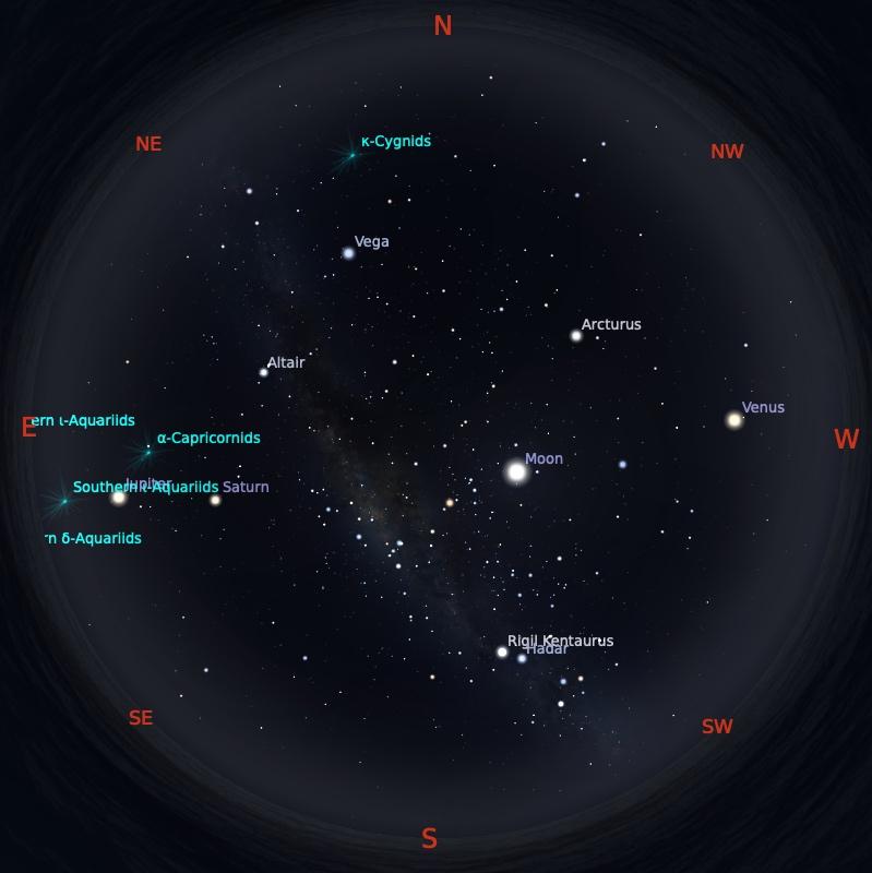 Peta Bintang 15 Agustus 2021 pukul 19:00 WIB. Kredit: Stellarium