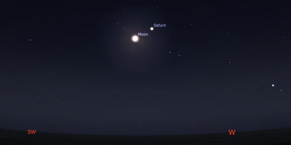 Pasangan Bulan dan Saturnus tanggal 21 Agustus 2021 pukul 03:00 WIB. Kredit: Stellarium