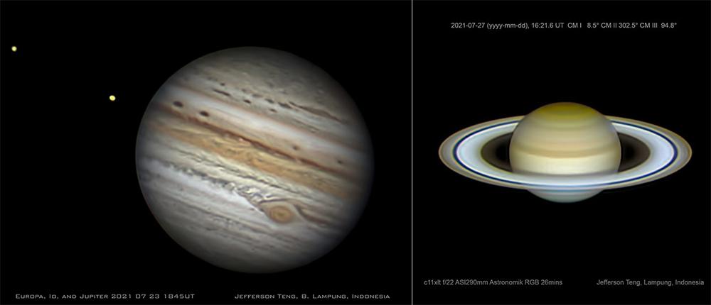 Jupiter dan Saturnus yang dipotret oleh Jefferson Teng dari Bandar Lampung. Kredit: Jeff Teng