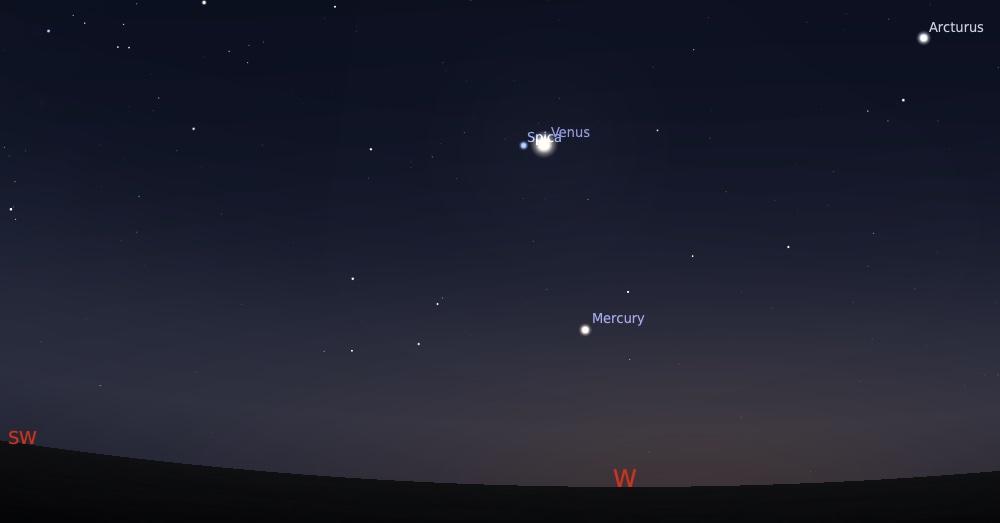 Pasangan Venus dan Spica tanggal 5 September 2021 pukul 18:30 WIB. Kredit: Stellarium