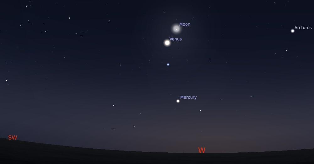 Pasangan Bulan dan Venus tanggal 10 September 2021 pukul 18:30 WIB. Kredit: Stellarium