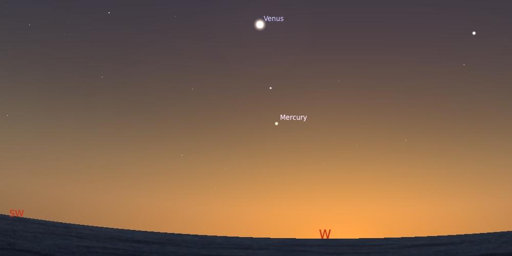 Merkurius saat elongasi timur maksimum pada tanggal 14 September setelah Matahari terbenam. Kredit: Stellarium