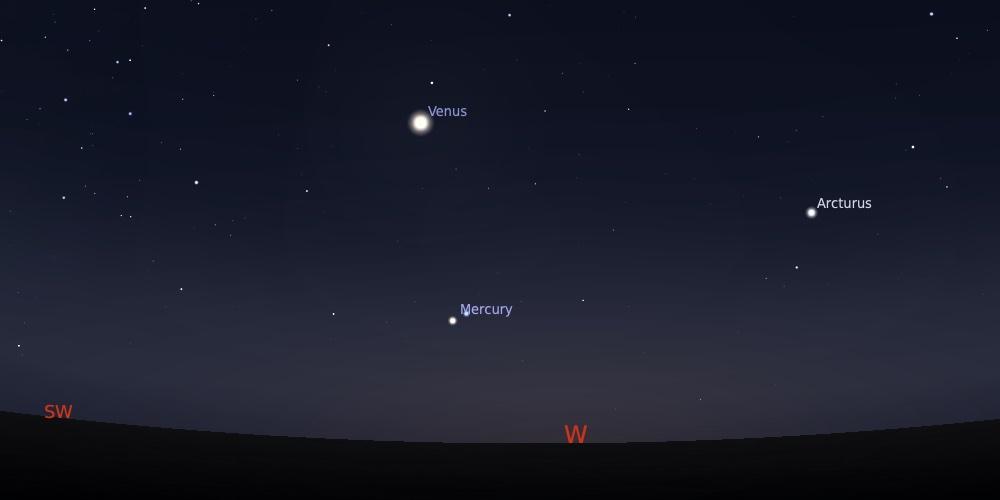 Pasangan Merkurius dan Spica tanggal 21 September 2021 pukul 18:30 WIB. Kredit: Stellarium