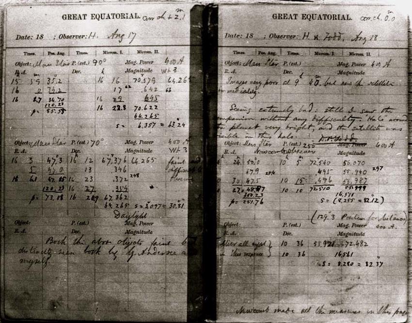 Buku log pengamatan Asaph Hall yang memuat penemuan Phobos dan Deimos tanggal 17 August 1877. Kredit: U.S. Naval Observatory/NASA