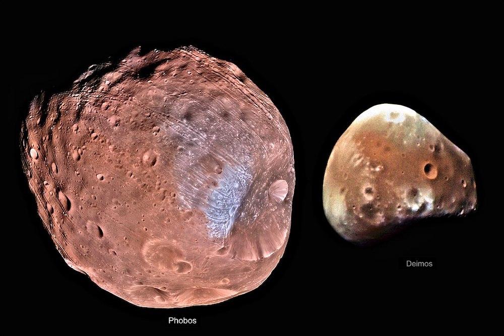 Phobos dan Deimos dipotret oleh MRO. Kredit: NASA/JPL-Caltech/University of Arizona, Giuseppe Donatiello..HiRISE instrument on the Mars Reconnaissance Orbiter
