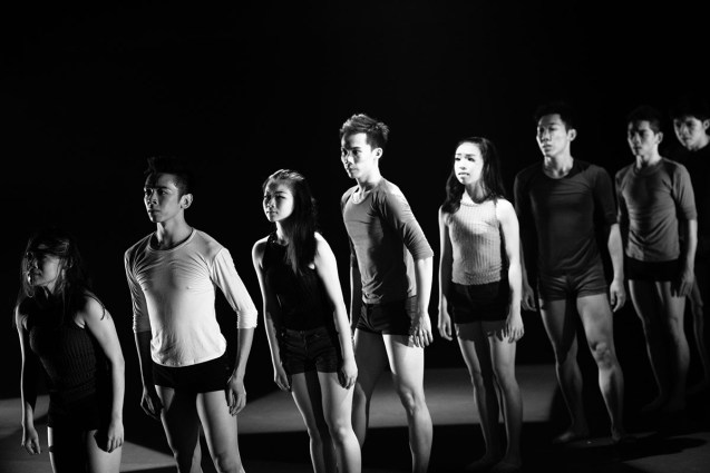 [Left to right] Lim Shi Jun, Kenny Leow, Mable Khor, Lim HongJie, Mandy Chua, Chen FunYen, Howard Hew and Low Chong Kiat in Men and Women are Seeking for LOVE, Pentas 2, The Kuala Lumpur Performing Arts Centre, May 2015. Photo © KK Wong