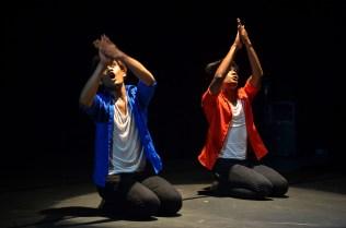 """Izzazly Fikri Kamri [left] and Hasmizan Abdul Hamid in """"Cerita-cerita"""" by Marion D'Cruz, Black Box, ASWARA, Kuala Lumpur, 14 June 2015. Photo © LH Tang"""