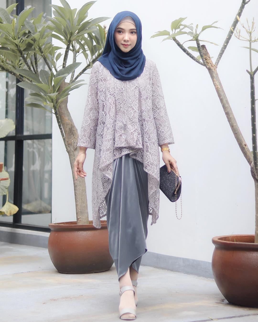 baju kondangan simple hijab dengan kain lilit
