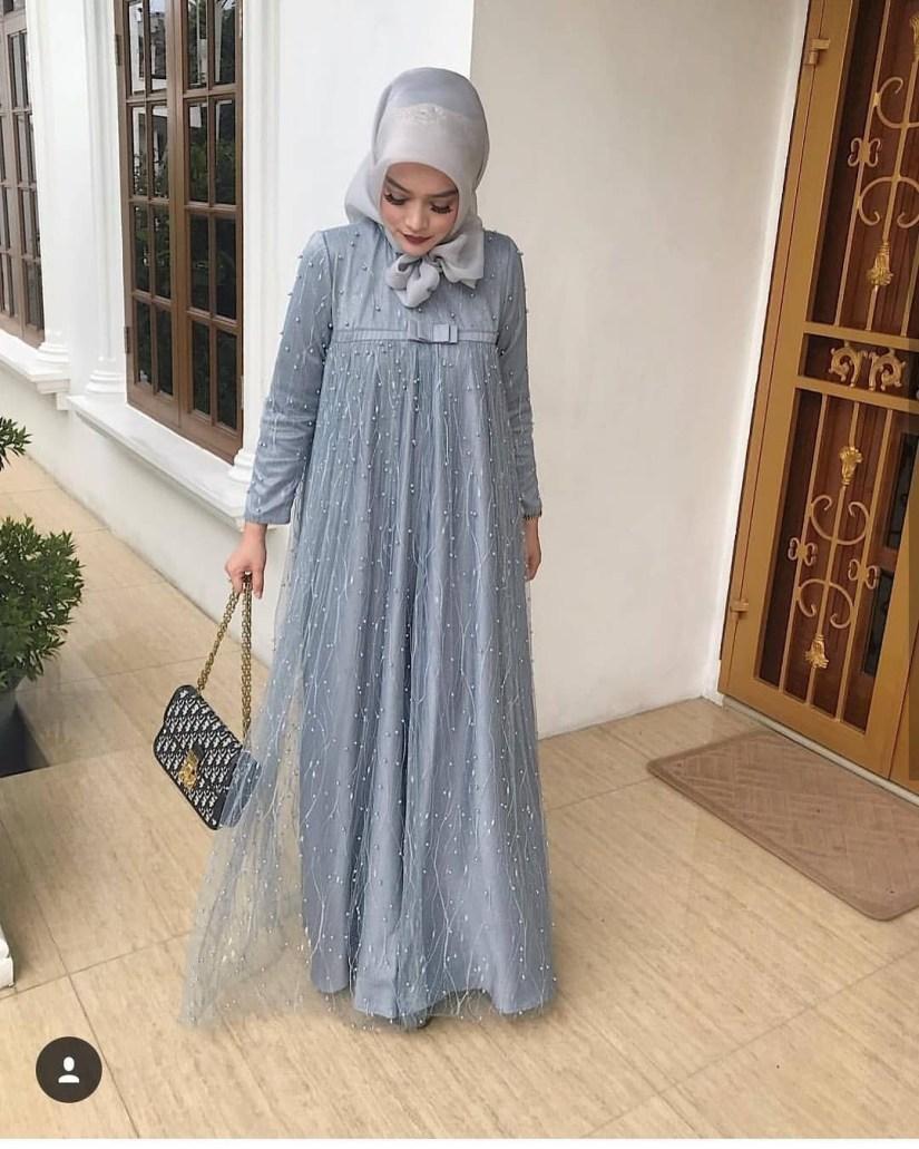 baju kondangan simple hijab dengan model gamis
