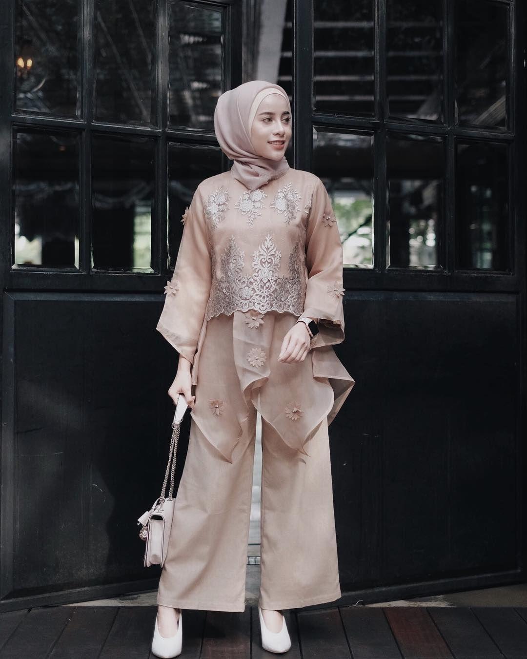 baju kondangan simple hijab dengan warna senada