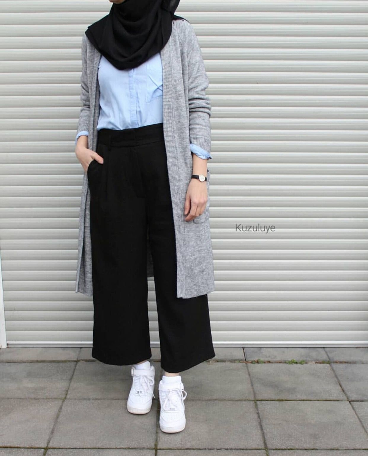 baju setelan celana hijab dengan cardigan