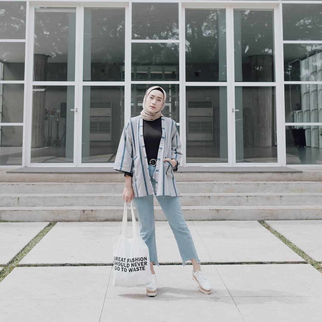 baju setelan celana hijab dengan outer motif