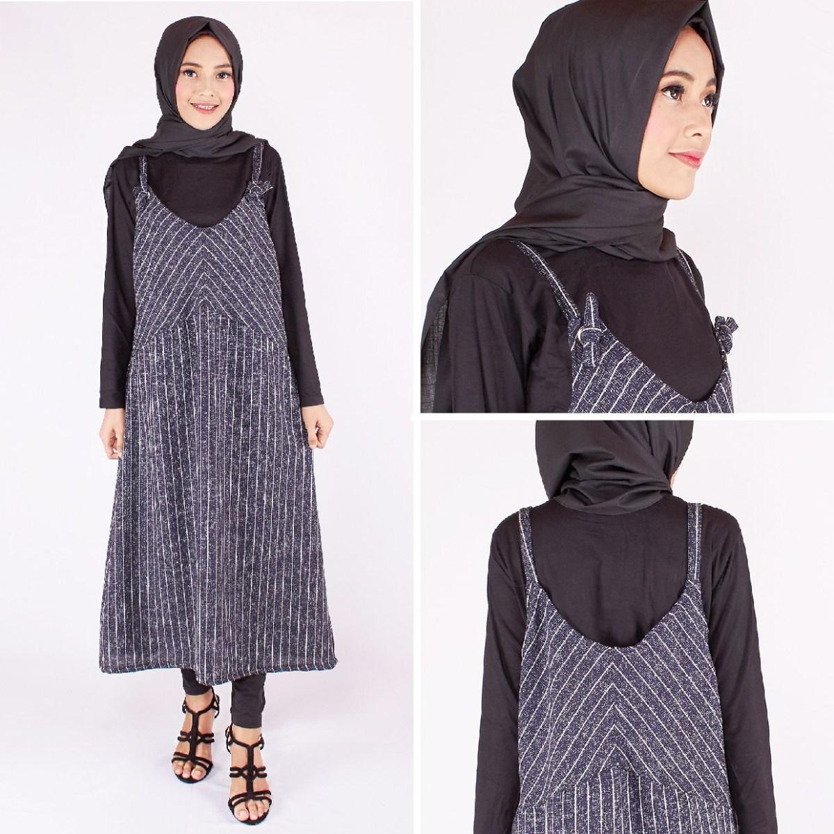 baju setelan celana hijab dengan salur dress